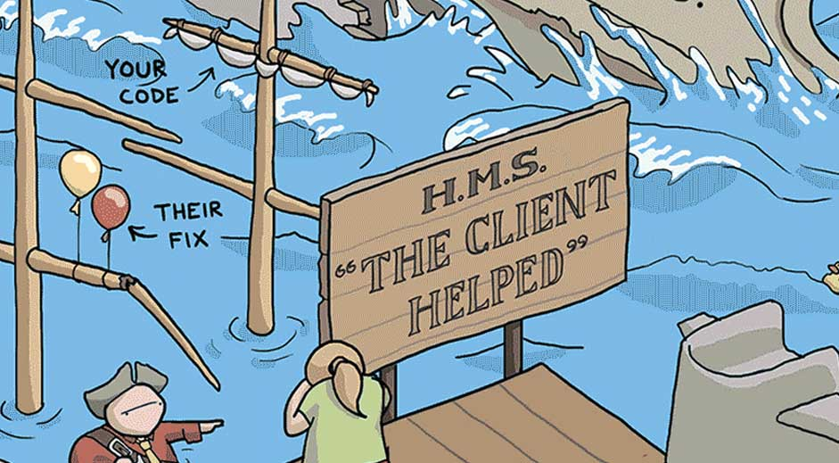 Humorous illustration uses pirates to depict terrible clients