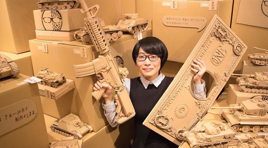 Artist turns old cardboard boxes into incredible sculptures