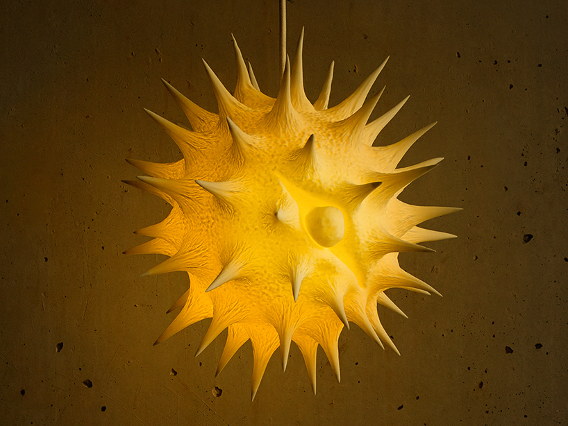 Swiss designers creates lamps inspired by helianthus pollen grains
