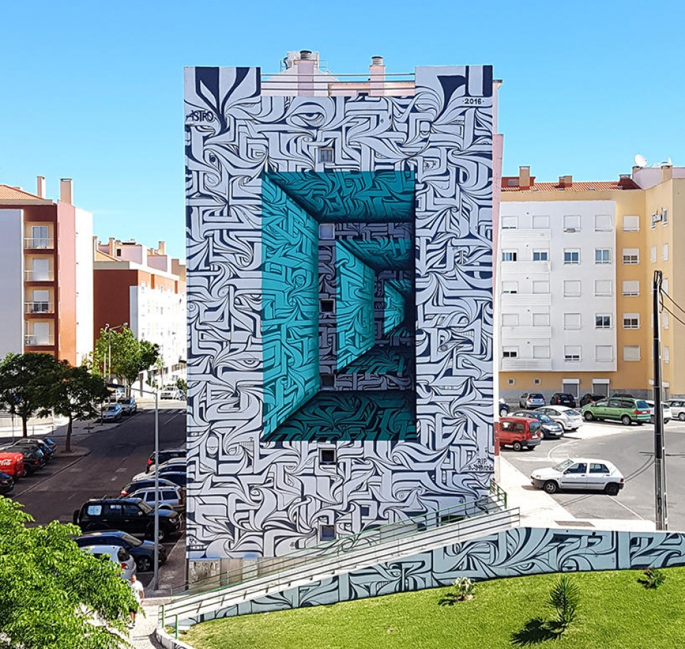 Astro street art that blurs the border between fantasy and reality