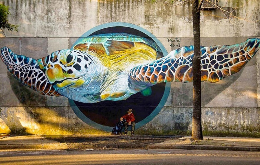 Martin Ron street art that blurs the border between fantasy and reality