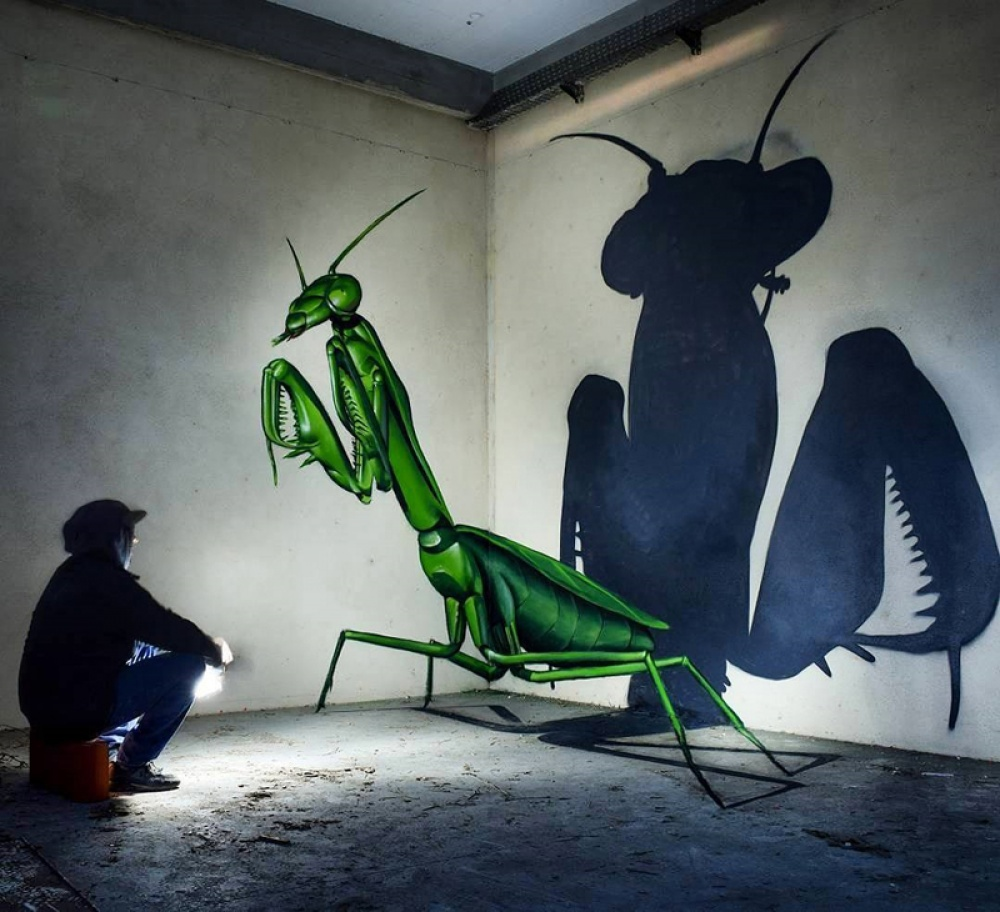 Odeith street art that blurs the border between fantasy and reality