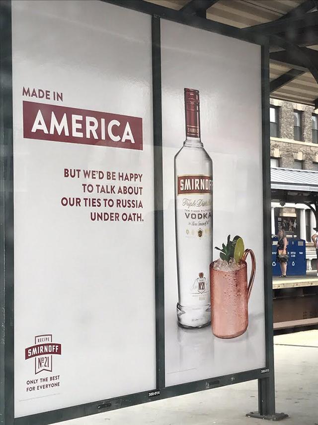Smirnoff humorously trolls Trump with new transit ad