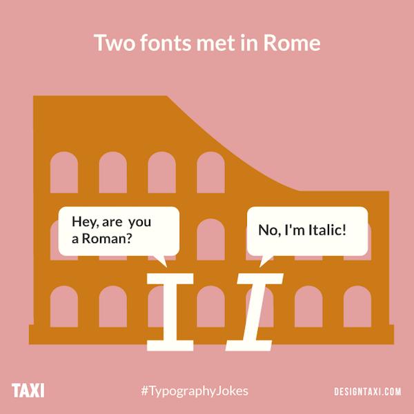 Roman letter typography puns