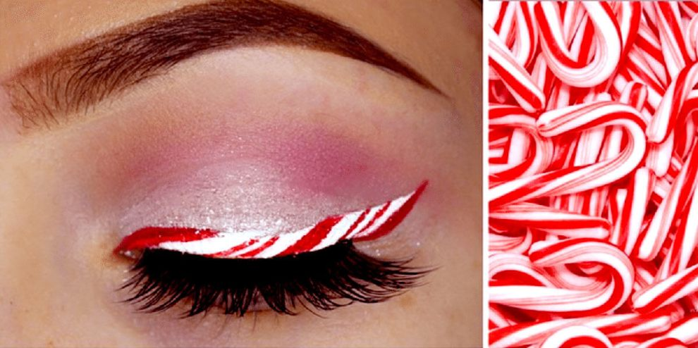 Candy cane eyeliner: The newest Christmas makeup trend