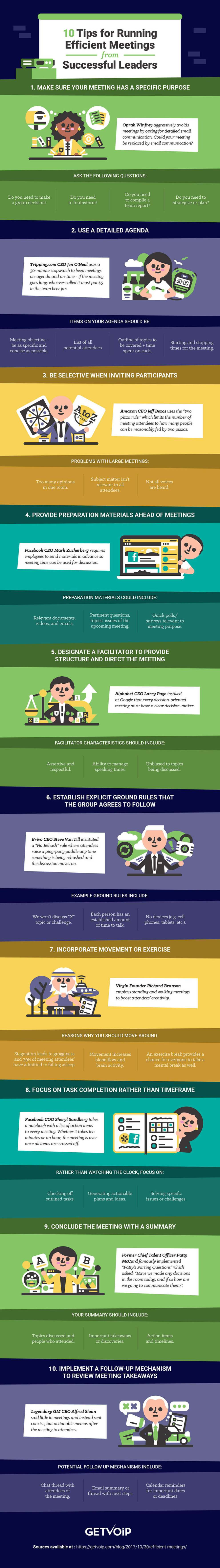 Infographic: 10 tips for running efficient meetings from successful leaders