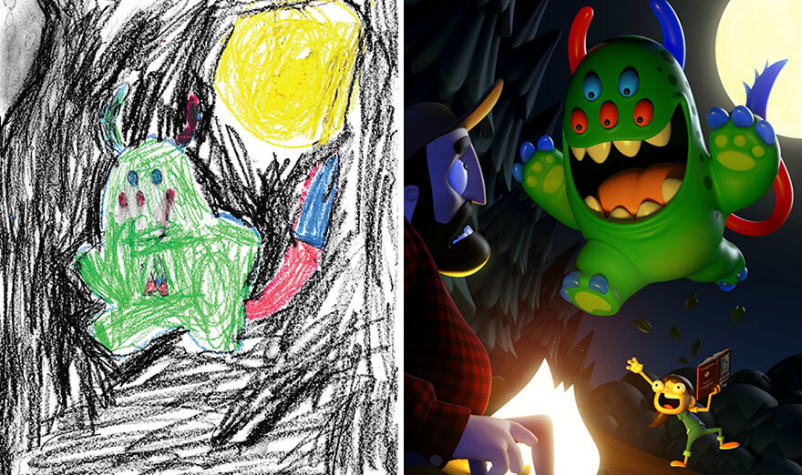 Professional artists recreate kids' monster doodles in their own styles