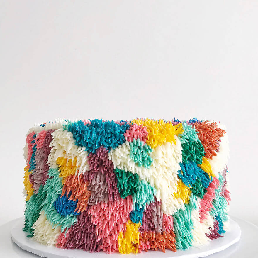 Colourfully textured frosted cakes look like shag carpet