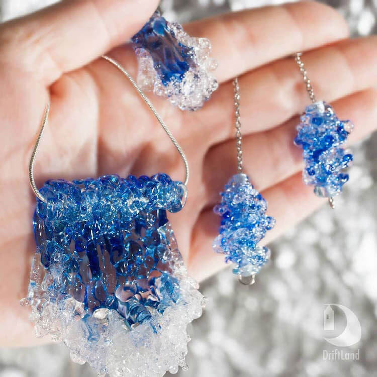 Glass jewellery lets you wear the swirling motion of the ocean