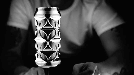 Artist transforms discarded aluminium cans into stunning sculptures