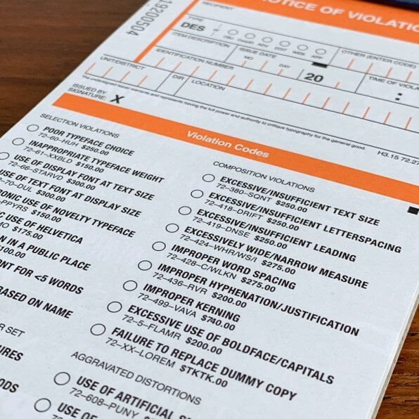 Write people up for design offences with the Typographic Ticket Book