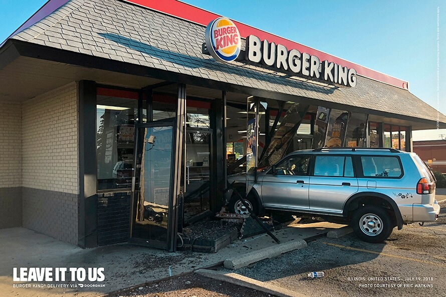 BK uses actual photos of car crashes to encourage home delivery