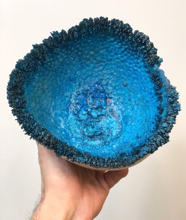 Electroformed crystals on handmade bowls by Sabri Ben-Achour