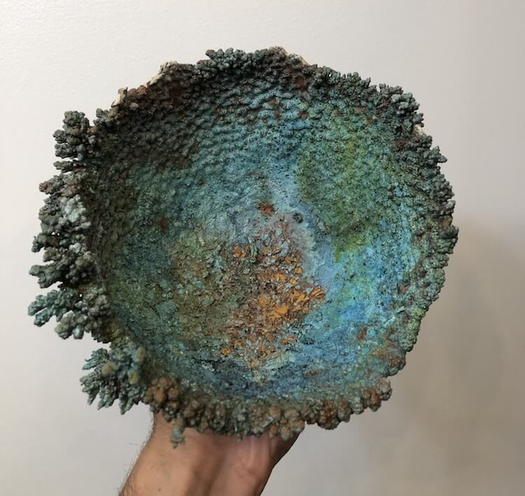 Electroformed crystals on handmade bowls by Sabri Ben-Achour