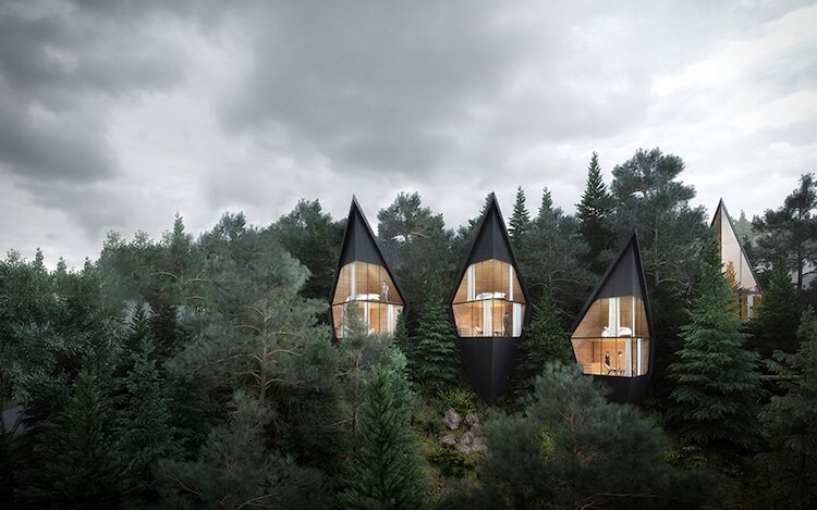 Peter Pichler Architecture prism-shaped treehouses in Italian Dolomites