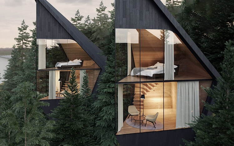 2-level prism-shaped treehouses with bedroom and lounge