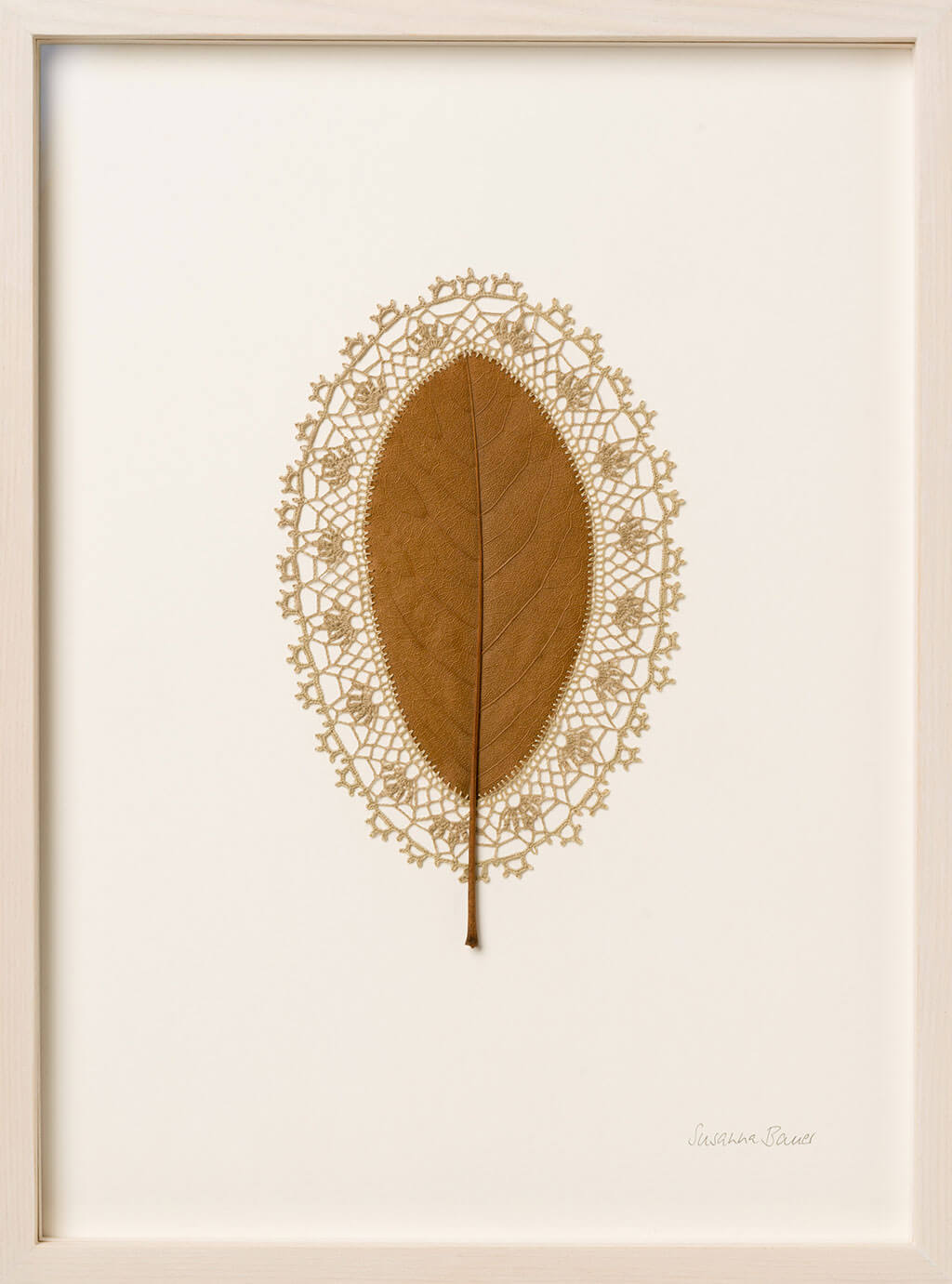 Crocheted dried leaves by Susanna Bauer