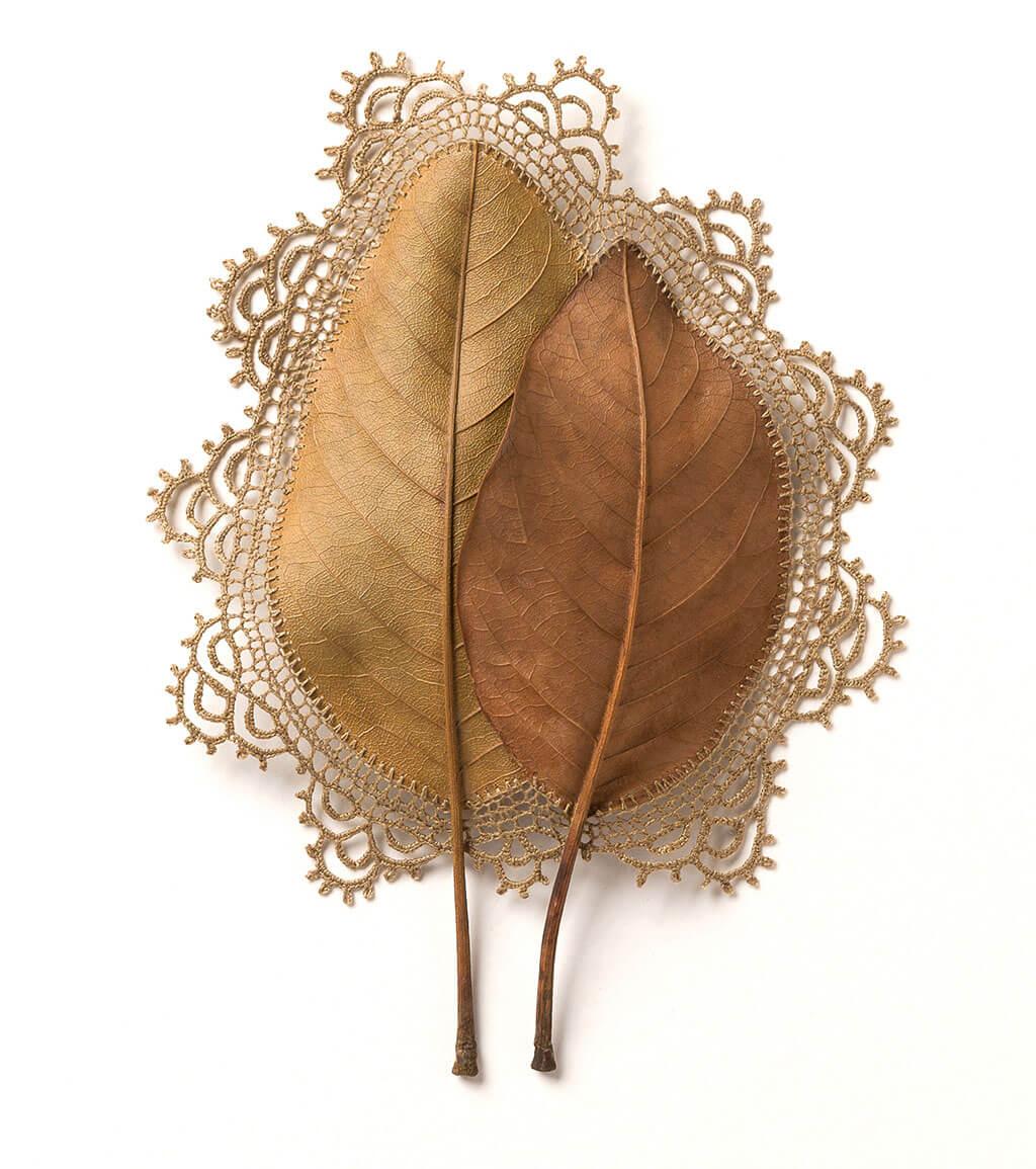 Crocheted dried leaf