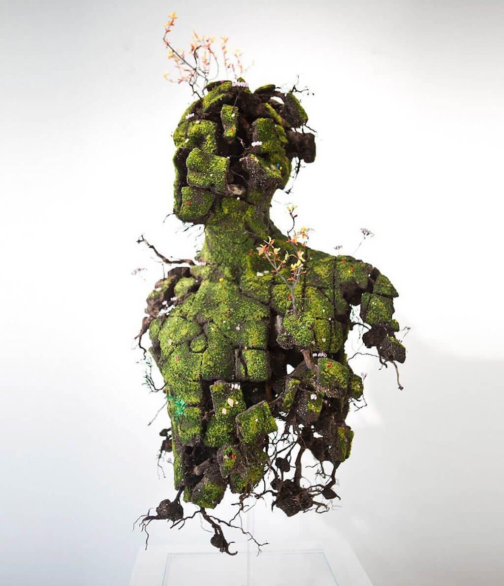 Human form plant sculpture