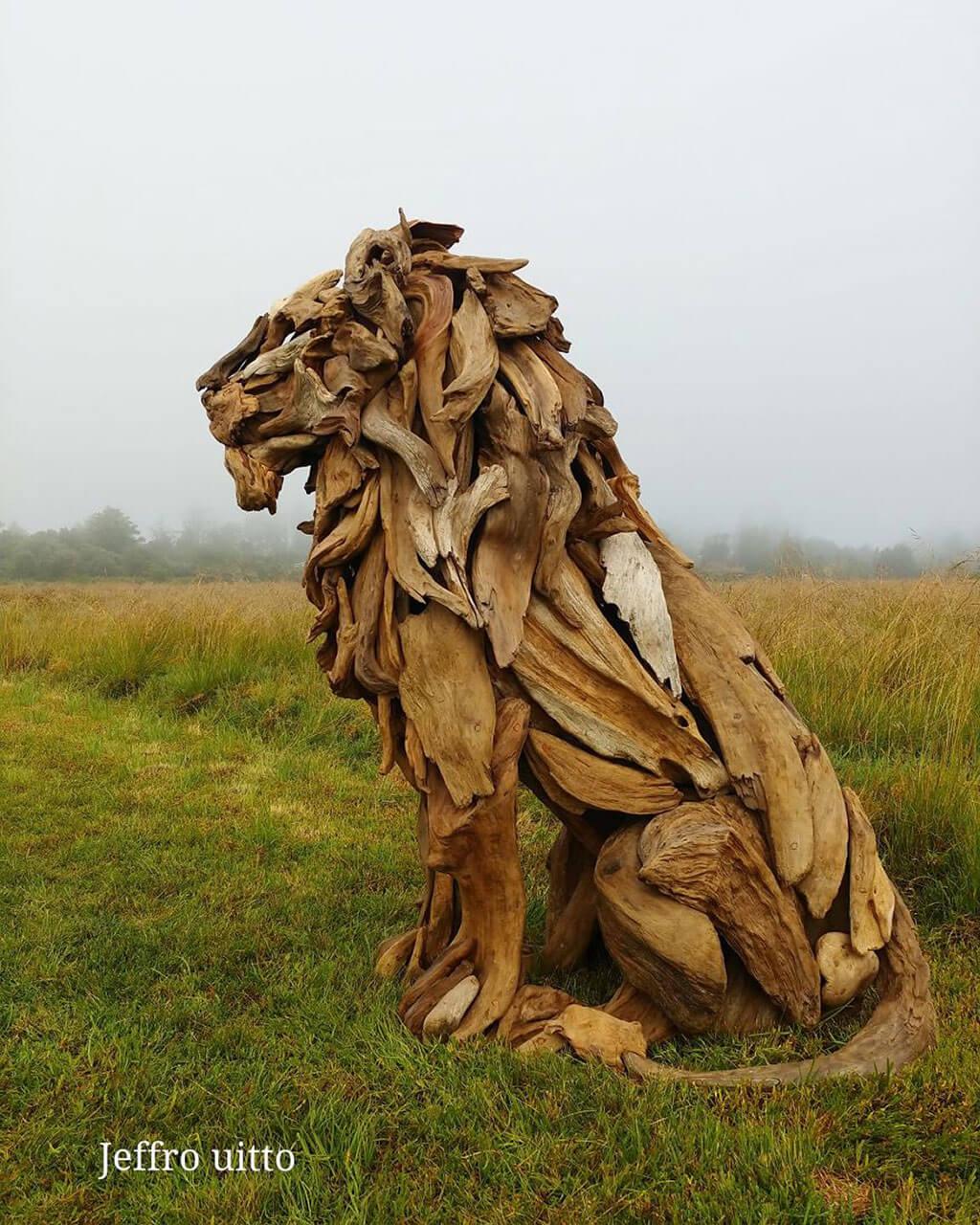 Driftwood sculpture of a lion