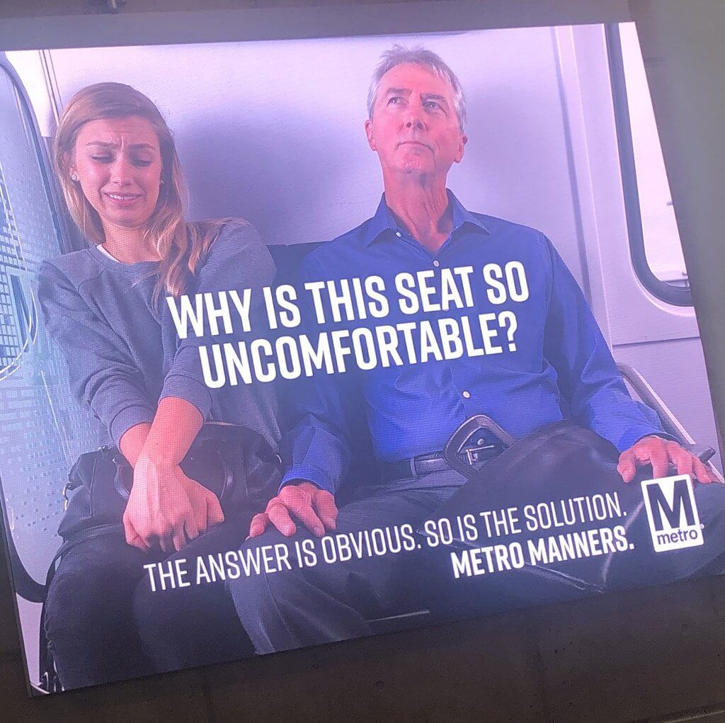 Metro Manners ad about manspreading