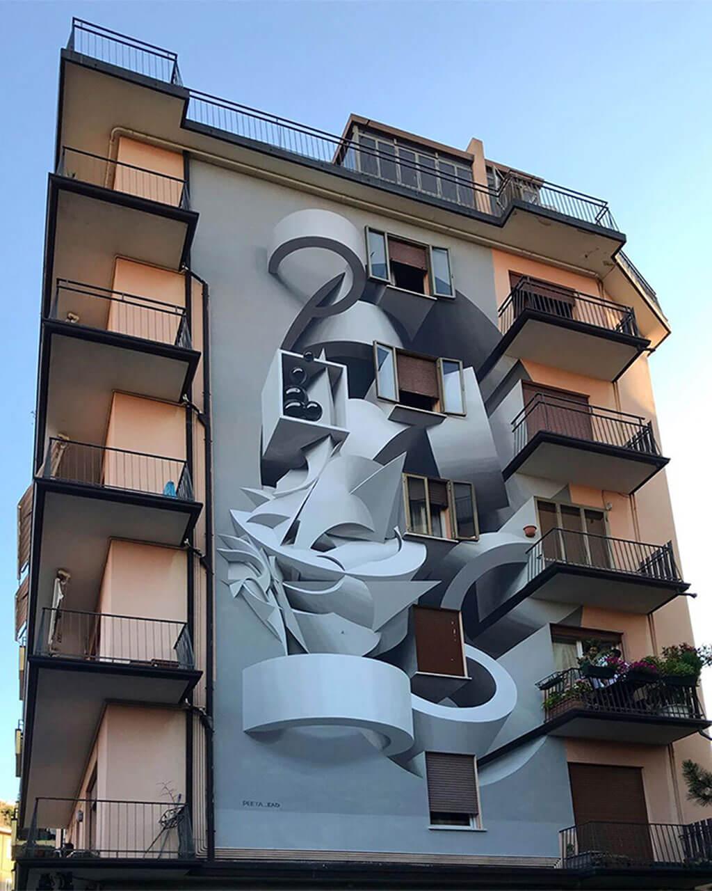 Optical illusion building art by Peeta