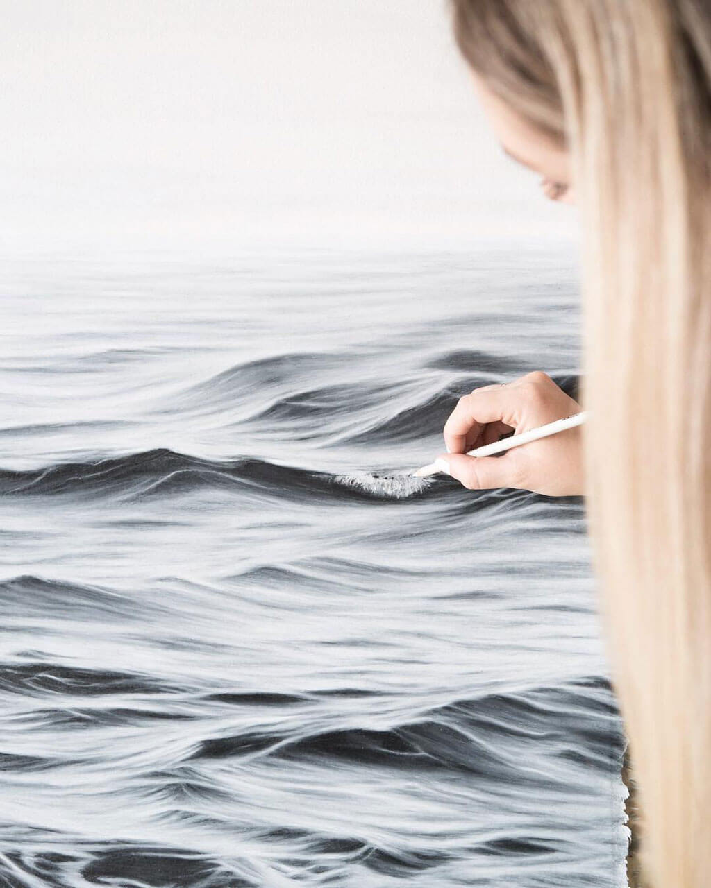 Hyper-realistic coloured pencil drawings