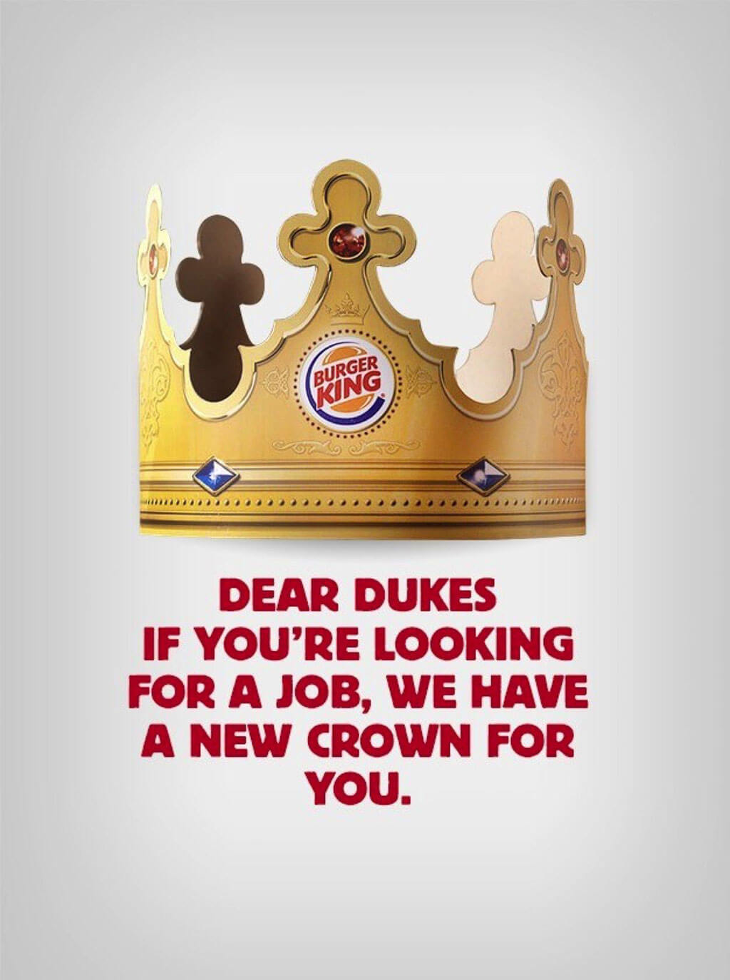 Burger King poster offers its crown