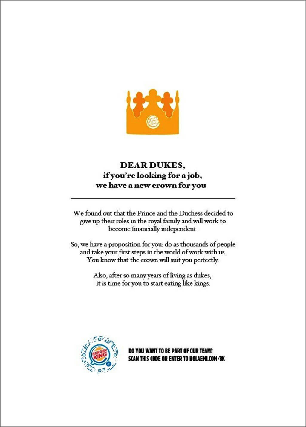 BK Argentina's note to the Dukes & Dutches