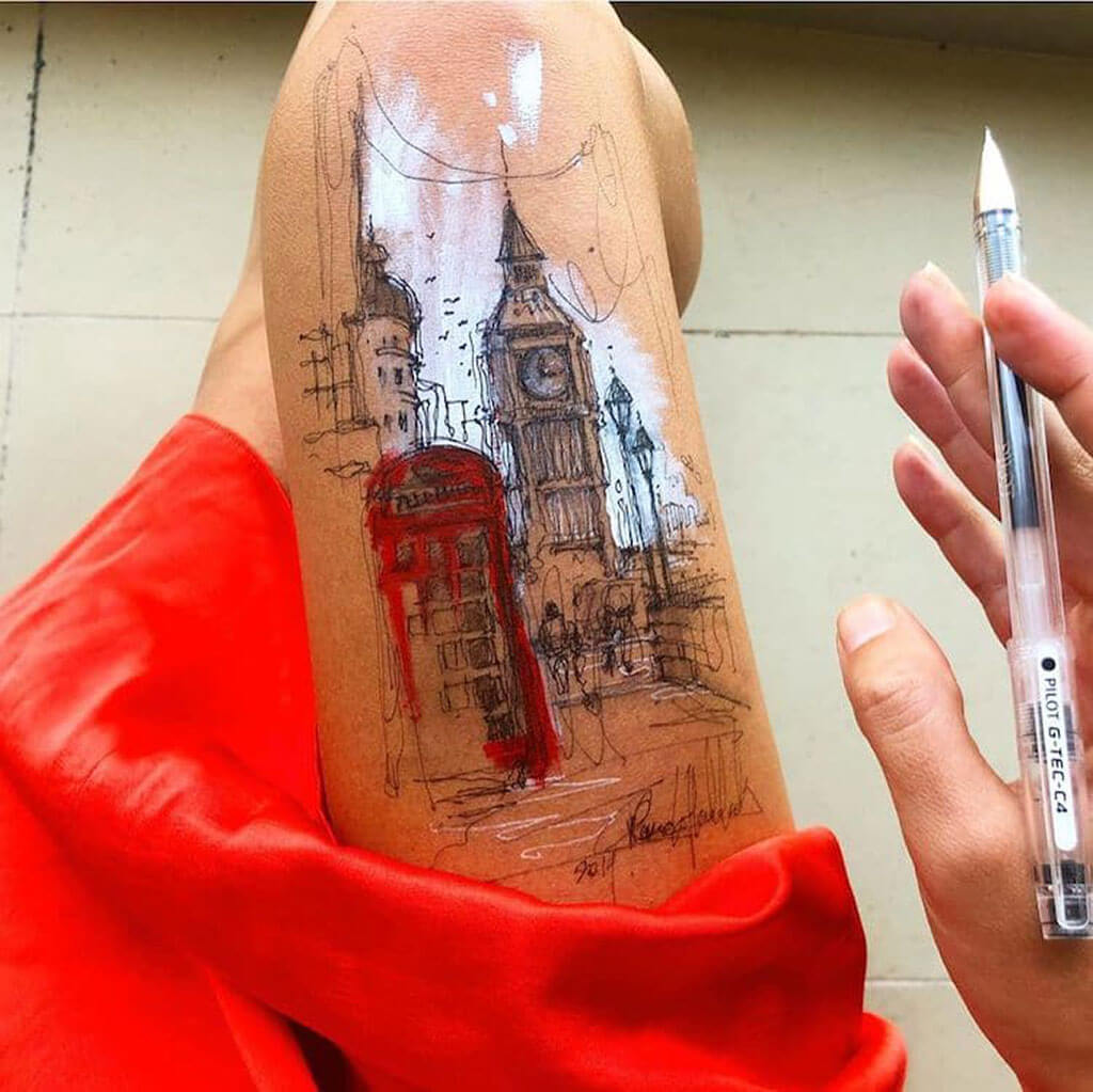 The world on a thigh