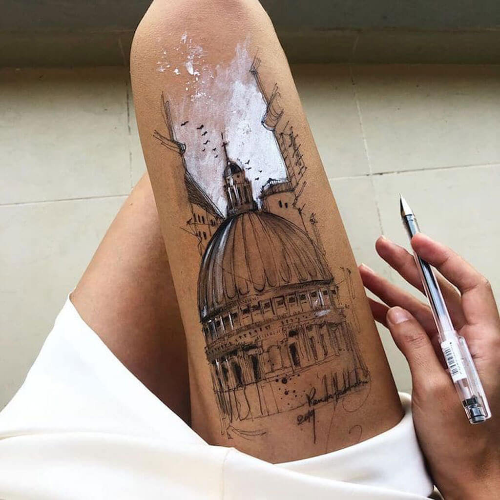 Detailed thigh sketches by Randa Haddadin
