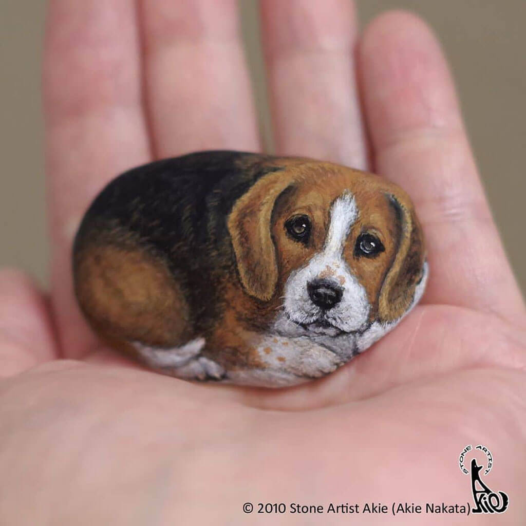 Highly realistic animals painted on rocks