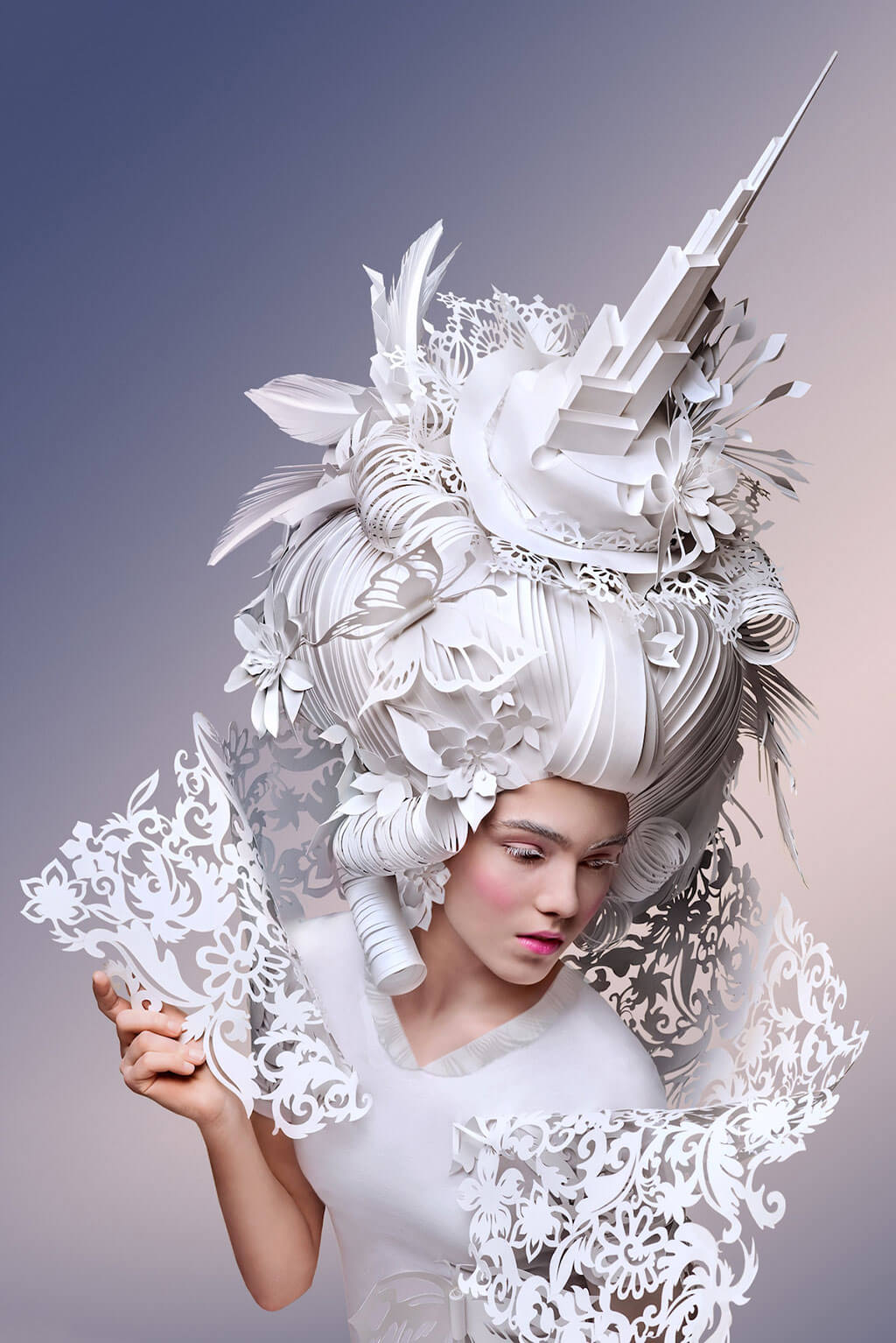 Baroque-inspired paper wigs by Asya Kozina and Dmitriy Kozin