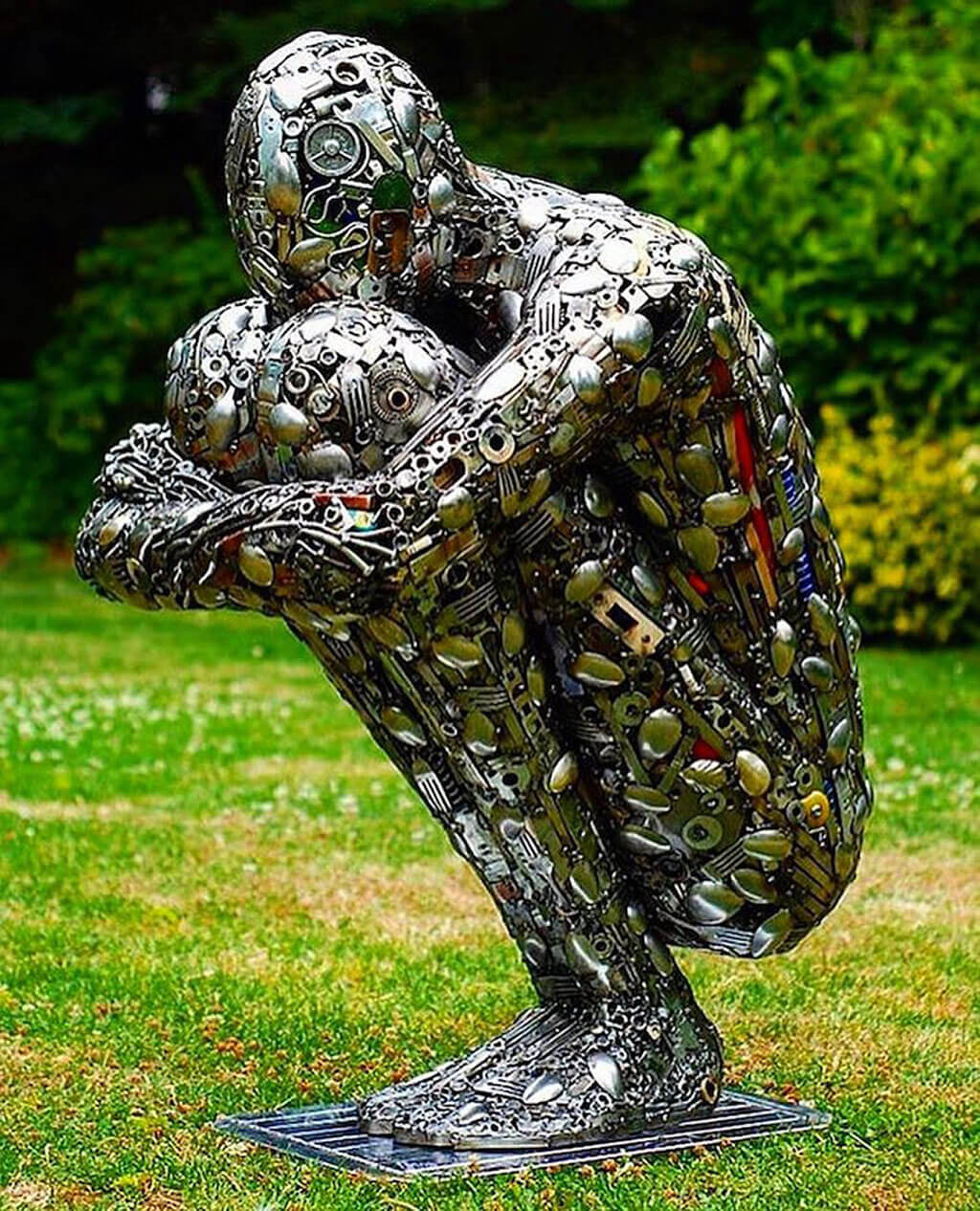 Human form made from scrap metal