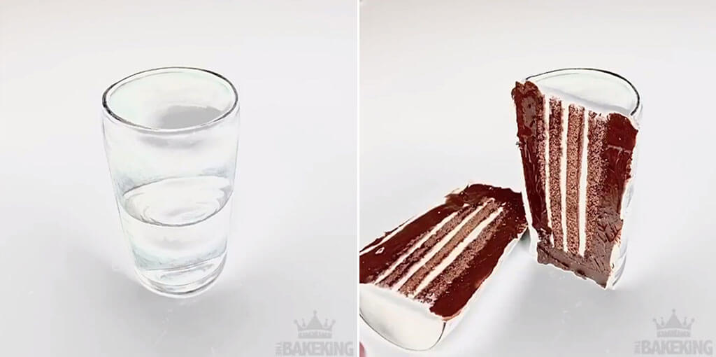 Water glass cake creation