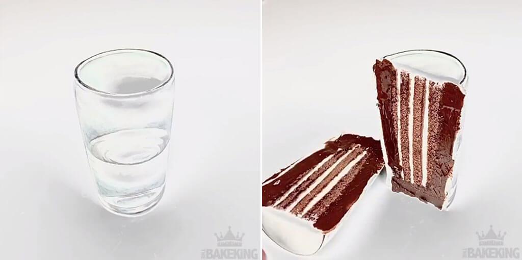 Water glass cake creation