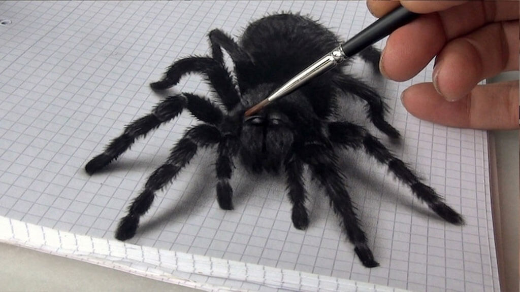 3D painting of a spider