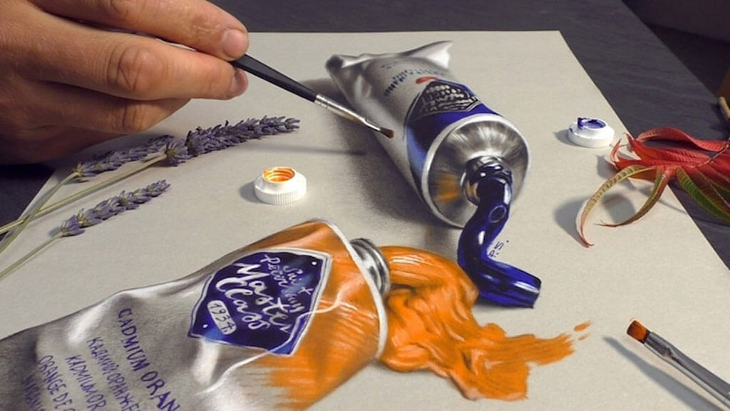 Optical illusion paint tubes by Stefan Pabst