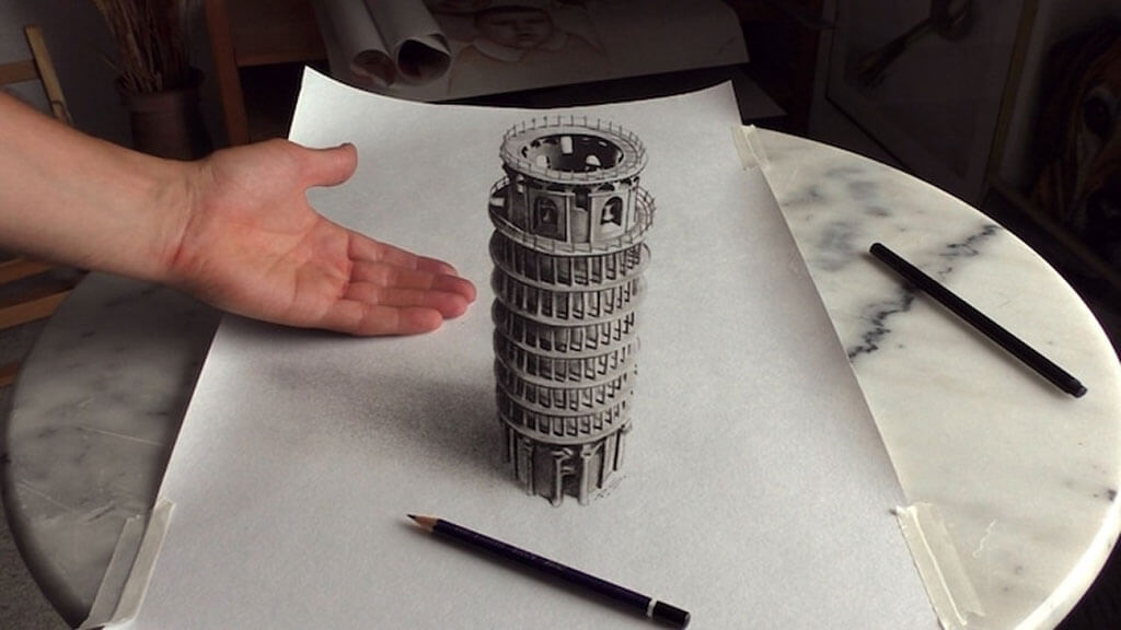Amazing 3d drawings appear to rise from the page