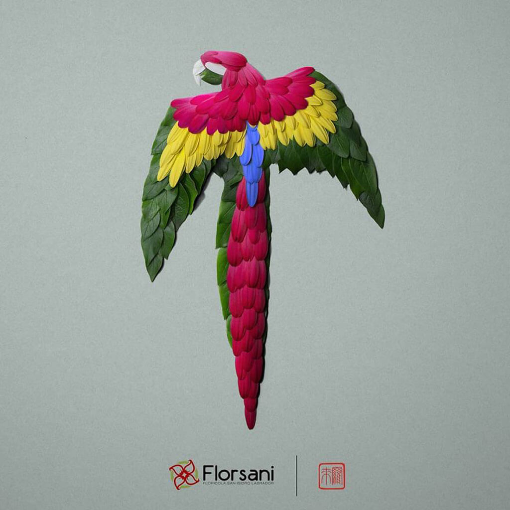 Parrot made of flowers by Raku Inoue