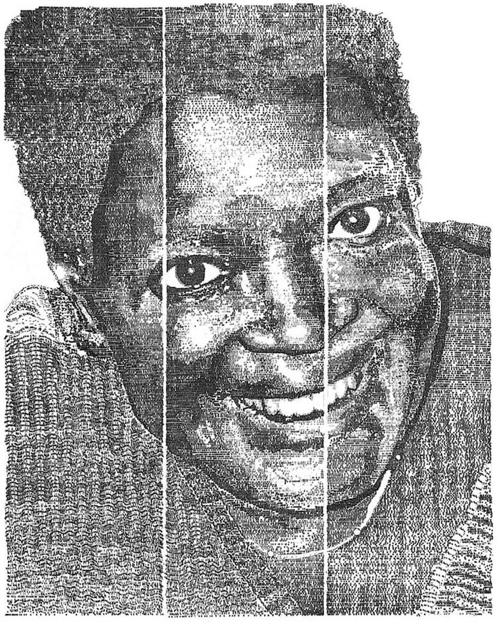 Typewriter portrait created with 100,000 letters, numbers, and punctuation marks