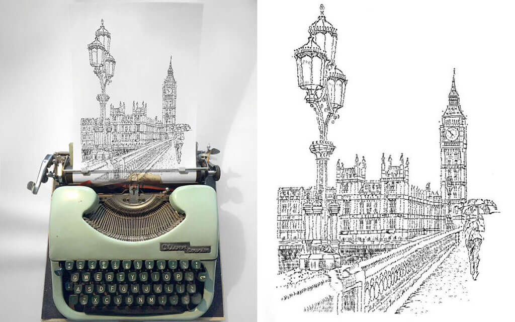 Typewriter architectural drawings