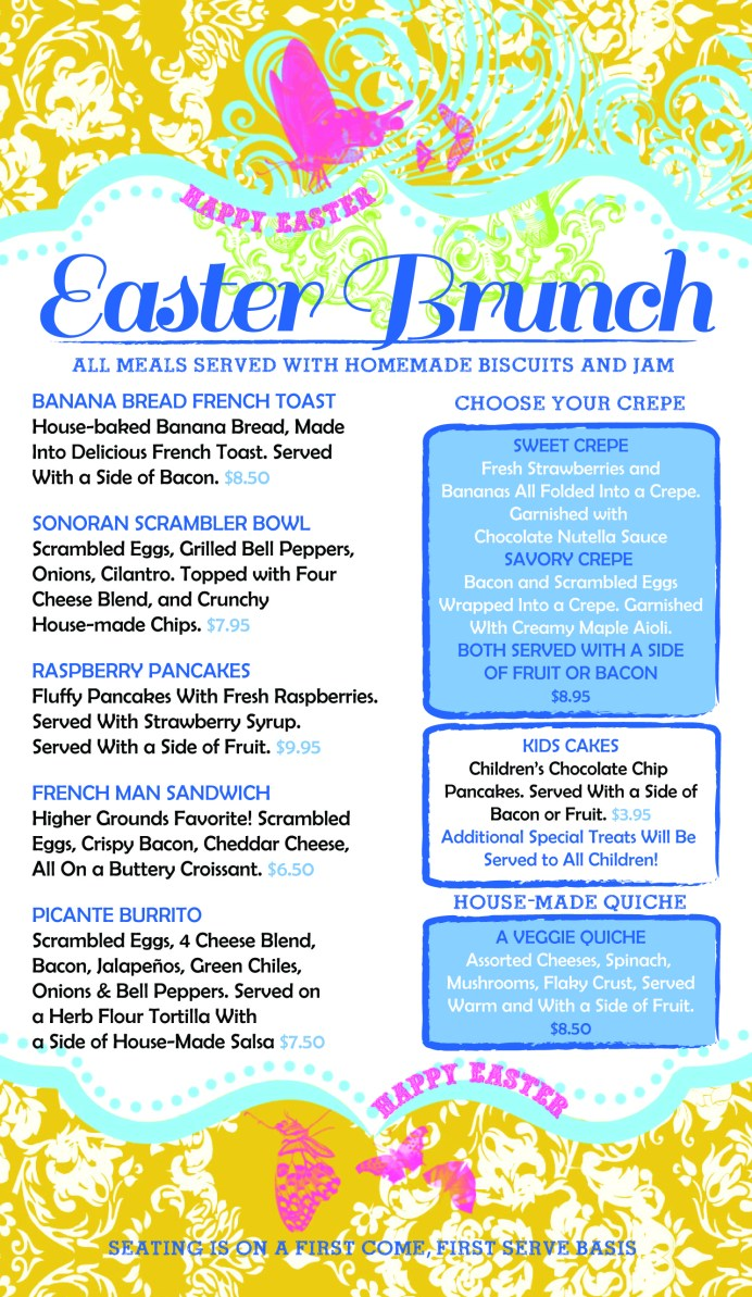 Small Brunch Menu for Easter
