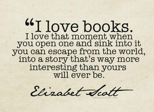 Elizabeth Scott escape into a book