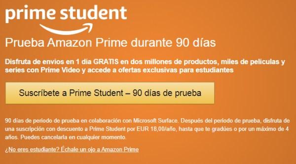 Amazon Prime Student gratis para estudiantes