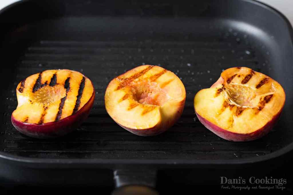 Grilled Peach Salad with Chicken and Avocado - peaches on a grill pan