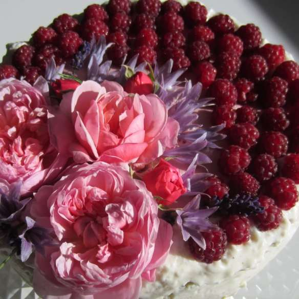 Birthday cake with raspberry and sweet lemon - elderflower mousse -Lav en lækker lagkage med 2 slags mousse: hindbærmousse og citron-hyldeblomstmousse og dekorerer med spiselige blomster. Find flere opskrifter på lagkager, mad og desserter, samt inspiration til årets gang på danishthings.com #danishthings #hyldeblomst #elderflower #hindbær #raspberry #lagkage #layercake