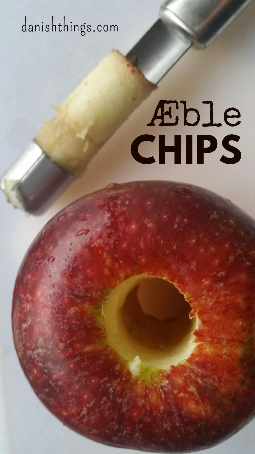 Æblechips - tørrede æbleringe i ovn eller dehydrator. Lav lækre sundere snacks af tørrede æbler. Du kan bruge din ovn, eller en dehydrator til at lave tynde chips af æblerne, eller tykkere chewy æbleringe. Find opskrifter, gratis print og inspiration til årets gang på danishthings.com #DanishThings #æblechips #æble #chips #tørrede #æbleringe #æbler #dehydrator #ovntørrede