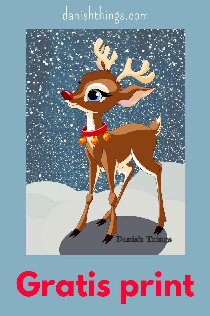Print en juleplakat med Rudolf. Julepynt - nemt, hurtigt og gratis til eget brug. Sæt det lille rensdyr Rudolf i ramme, så har du julestemning med det samme. Find inspiration til din jul, gratis print og opskrifter på danishthings.com