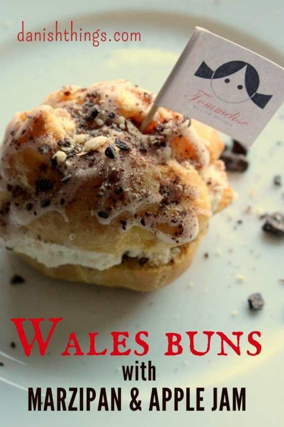 Wales buns with marzipan and apple jam - choux pastry - Danish Things. Find recipes and inspiration @ danishthings.com
